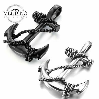 MENDINO Men's Stainless Steel Pendant Necklace Rope Chain Nautical Anchor Cross