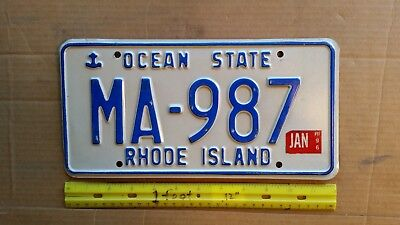 License Plate, Rhode Island, 1996, Anchor, State Motto: Ocean State, MA - 987