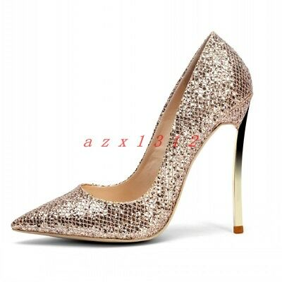 Women Pointy Toe High Stiletto Heel Metal Sequin Bling Party Shoe Pumps Fashion