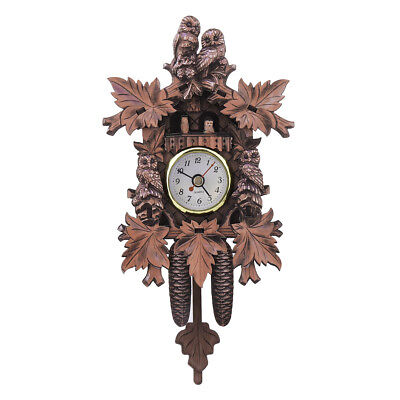 Vintage Cuckoo Clock Forest Quartz Swing Owl Wall Alarm Handmade Room Decor 304