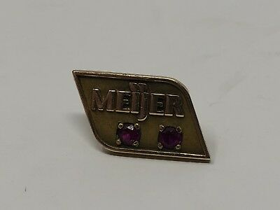 Meijer Stores Service Award Pin with 2 Red Stones 1/10 10K cTo Small 1.5 inch