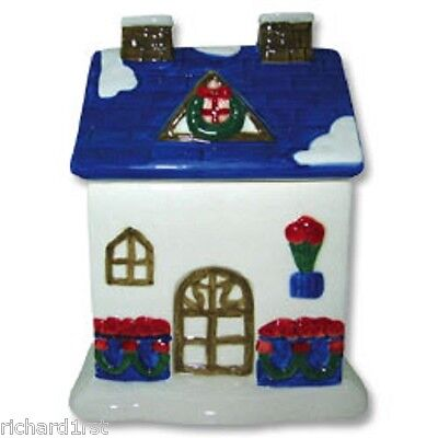 Ceramic Cookie Snack Jar Red Rose House Building NEW