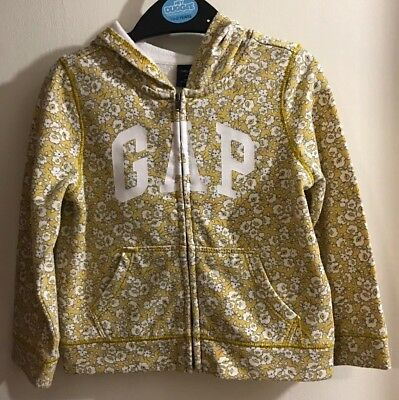 Gap Girls Ochre Floral Patterned Hooded Top Jacket. Age 2 Years
