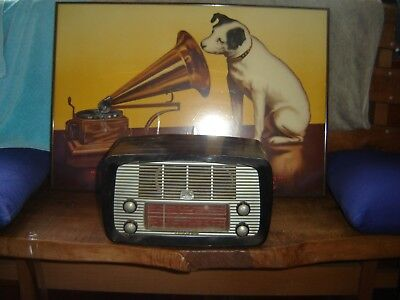 Hmv Black Little Nipper Valve Radio With Common Silver Front---Working
