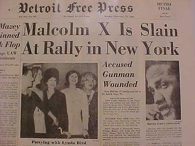 Vintage Newspaper Headline ~Crime Malcolm X Dead New York City Gunman Gun Shot~