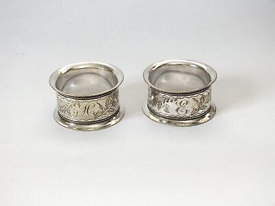 VINTAGE SILVER PLATED NAPKIN RING HOLDERS ORNATE FLORAL H & E Monogram Initial
