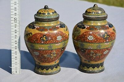 A pair of antique / vintage CLOISONNE jars and covers. 130mm high
