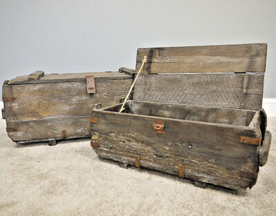 Set of 2 Rustic Wooden Chests Blanket Boxes Vintage Chest Retro Storage Trunks
