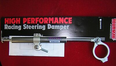 Side Mount Adjustable Steering Damper 120mm Stroke & Clamp. Gun Metal Grey.New,