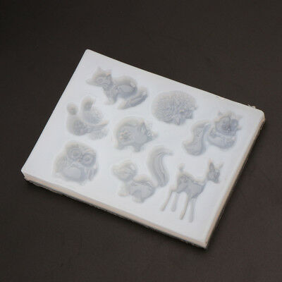 Forest Animal Silicone Mold Fox Squirrel Pig Elk Owl Animal Resin Jewelry Mold