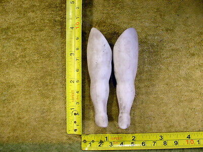 """2 x excavated vintage bisque Doll Legs with loop hole a pair 3.5"""" age 1890 11439"""