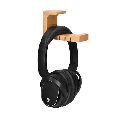 Universal Wooden Headphone Holder Hanger Mount for the Desk or Wall - Beech Wood