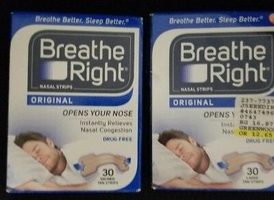 New Breathe Right Nasal Strips, 2 BOXES OF 30 (FREE SHIPPING)