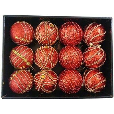 Snow White Branded Pack Of 12 Deluxe Red 8cm Christmas Tree Baubles - Luxury Set
