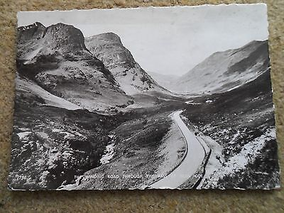 Black & White.r.p.postcard.the Winding Road Through The Pass Of Glen Coe.