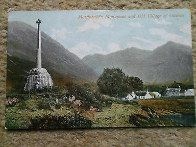 Vintage .postcard. Scotland.macdonald's Monument And Old Village Of Glencoe.