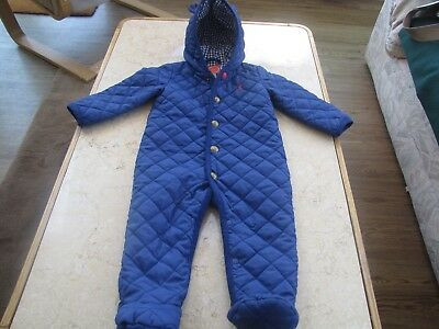 Joules Baby Navy Blue All In One Pramsuit Age 9/12 Months