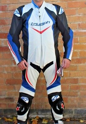 Alpine Stars Triumph Leather Full Suit Red/White/Blue Model As-7 #Tri Wh250