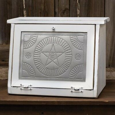 New Primitive Farmhouse White Wood PUNCHED TIN STAR BREAD BOX Cabinet