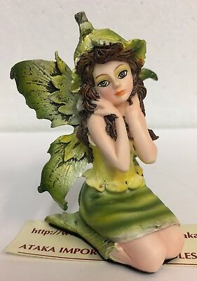 "Miniature Leaf Green Garden Fairy Figurine Statue 3"" H Small Faery Collection"