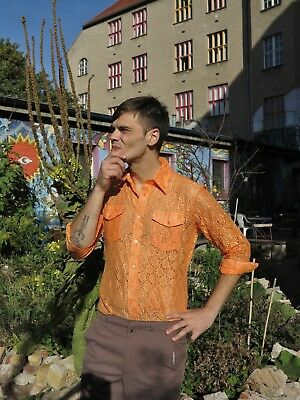 Garry Duncan Herrenhemd Spitze Orange Hemd 70er TRUE VINTAGE 70s cult shirt lace
