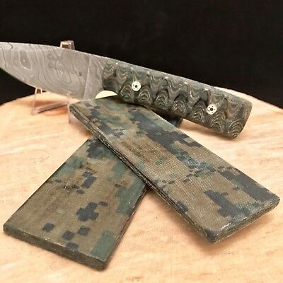 "USMC MARPAT Woodland Camo Fabric Micarta Knife Scales Pair 5 1/2""x 2"" x 1/4"""