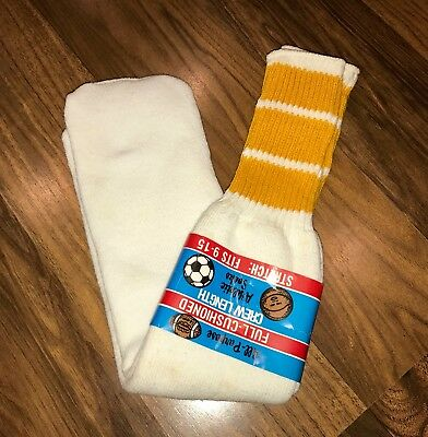 NEW Vtg 70s 80s White TUBE SOCKS Yellow STRIPED Athletic Adult Crew Length USA