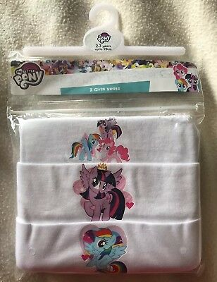 BNIP Girls My Little Pony Patterned White Vests 3 Pack. Age 2-3 Years