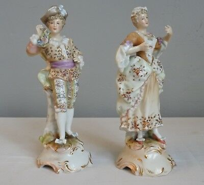 VOLKSTEDT Figurines Couple de Danseurs Epoque XIXeme German porcelain figurine