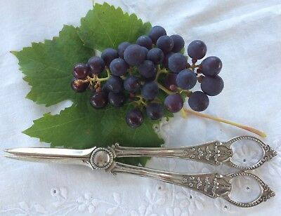 Pair Antique Vintage Silver Plated Grape Scissors