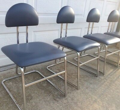 Vintage set 4 Loewenstein Modern Memphis Style Blue Chrome CHAIRS Stools Chairs