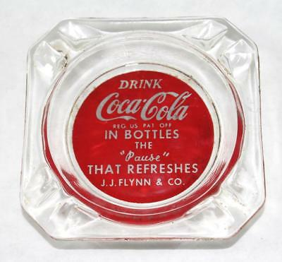 Vintage Coca Cola J.J. Flynn Bottling Co. Quincy, IL. Ashtray