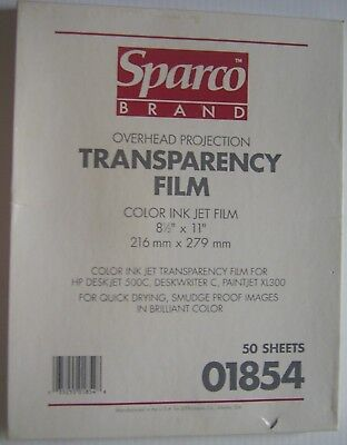"Sparco Brand Color Ink Jet Transparency Film 50-Sheets 8.5"" x 11"""