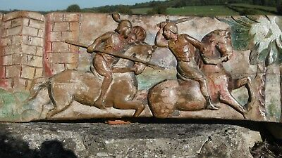 Superb C.1900 Italian Oak Carved Panel Of Jousting Knights Orig. Painted Decor