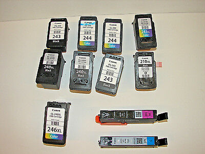 """Lot Of 11 """"empty Virgin"""" Canon Ink Cartridges 243 244 245 246 & More!"""