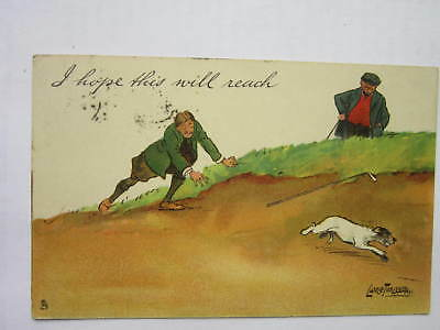 GOLF - I HOPE THIS WILL REACH  vintage coloured postcard  1906
