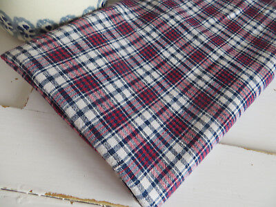 "Unused Antique  Handwoven Checked Linen Fabric 26 "" by  1.5 Yards  Upholstery"