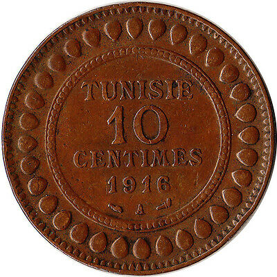 1916 Tunisia (French) 10 Centimes Coin KM#236