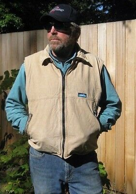 Vintage KAVU Fleece Lined Tan Canvas Outdoors Vest Men's Size Large Made in USA