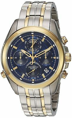 Bulova 98B276 Men's Precisionist Two Tone Blue Dial Chronograph Date Watch