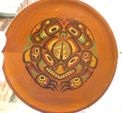 1980s Wooden Native American Plaque - Story Of The Frog