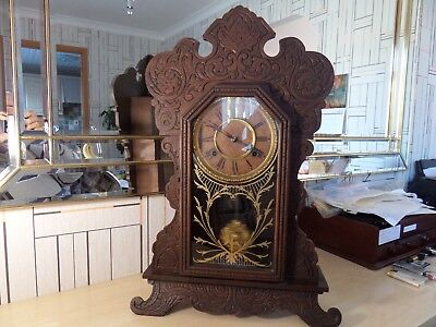 "Lovely ""waterbury"" Usa Bracket Clock With Super Running Chiming Movement"