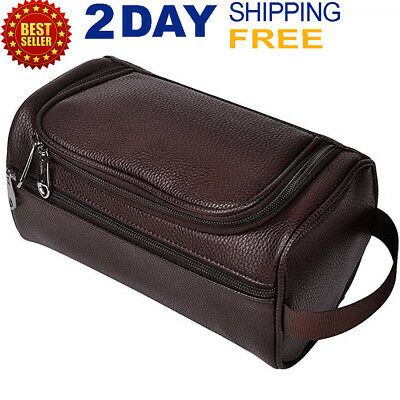 5d95f3470d Men Toiletry Travel Bag Shave Kit Leather Organizer Dopp Shaving Accessory  Brown