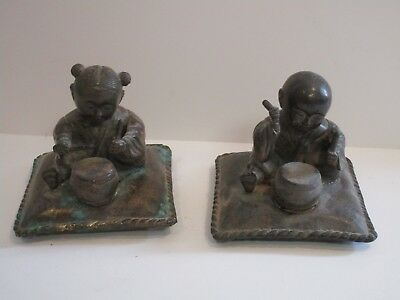 Fine Old Chinese Sculpture Bronze Metal Child Children  Statue Antique Vintage