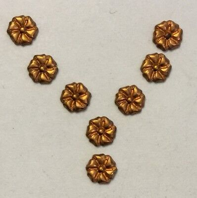 Vintage Hard To Find 5Mm Detailed High Quality Brass Flower Stampings 16 Pieces