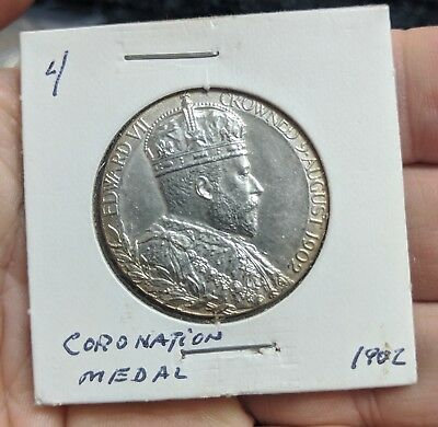 Rare 1902 Edward VII Coronation Medal - Sterling Silver -  Hi Grade with attract