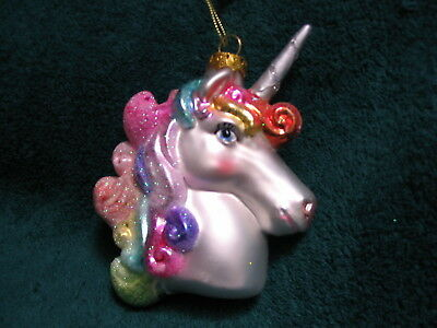 Rainbow Unicorn Glass Ornament - Enchanted Fantasy Magical Mythical Spiral Horn