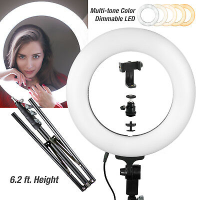 LED SMD Ring Light Kit with Stand Dimmable 5600K for Makeup Phone Camera