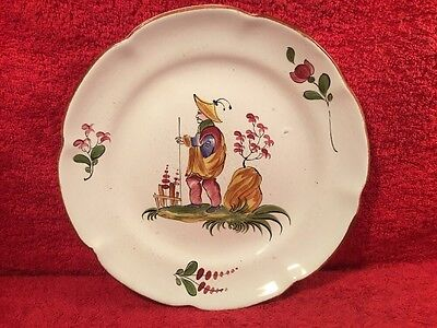 Antique French Faience Chinoiserie Hand Painted Plate c.1800's, ff606