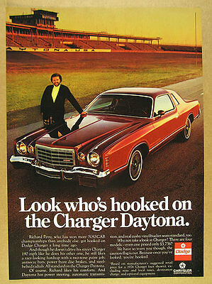 1976 richard petty at speedway photo Dodge Charger Daytona vintage print Ad